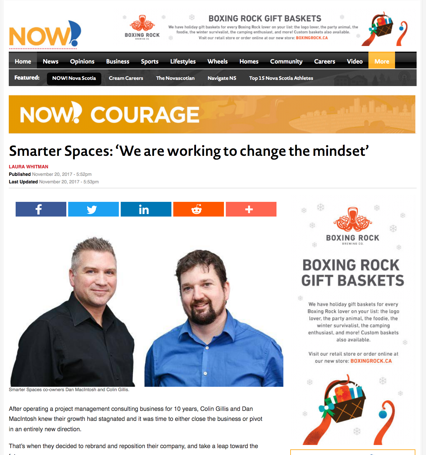 Dan MacIntosh and Colin Gillis of Smarter Spaces. Smarter Spaces won a 2017 Now Award.