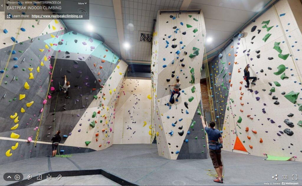 3D Virtual Tour of Eastpeak Climbing Gym, Halifax, Nova Scotia.